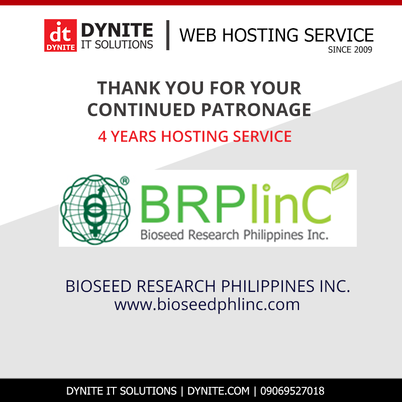 BIOSEED RESEARCH PHILIPPINES INC. Website Hosted for 4 Years