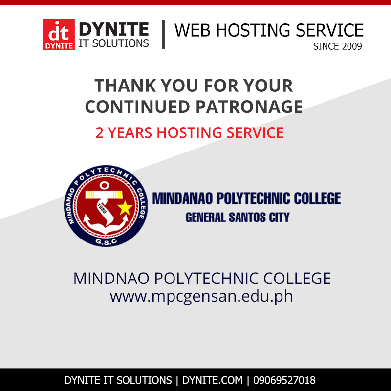 MINDANAO POLYTECHNIC COLLEGE Website hosted for 2 Years